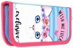 """Пенал """"Котик с цветами"""" (1 отделение, без наполнения, ткань) (ПН-6258)"""