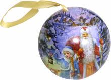 Новогоднее подвесное елочное украшение Шар классич. с новогодним пожеланием внутри, ассорт (81411)