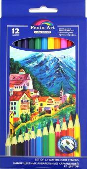 """Цветные акварельные карандаши """"Город"""" (12 штук, деревянные, шестигранные) (39630-30)"""