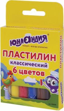 """Пластилин 6 цветов """"ЮНЛАНДИК-СКУЛЬПТОР"""" (105028)"""