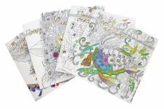 Комплект раскрасок (Птицы счастья. Подводное царство. Лес-чародей. Прекрасные незнакомки. Волшебные)