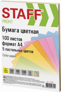 """Бумага 100 листов, А4 """"COLOR"""" микс (5 цветов) пастель (110889)"""