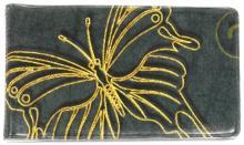 "Визитница ""Золотая бабочка на тёмно-зелёном фоне"" (038004виз003)"