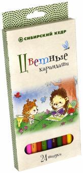 """Карандаши цветные, 24 цвета """"Ежик"""", шестигранные (СК027/24)"""
