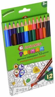 Карандаши цветные утолщенные треугольные (12 цветов) (B33312/T)
