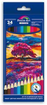 """Карандаши цветные акварельные """"Пейзаж"""" (24 штуки, 24 цвета, шестигранные) (40435)"""