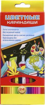 """Карандаши цветные """"Учись легко"""" (24 штуки, 24 цвета, пластик) (К-7127)"""