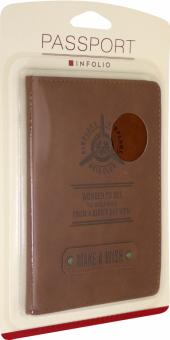 "Обложка для паспорта ""Airplane"" (IPC051/brown)"