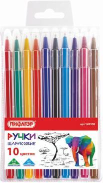 """Ручки шариковые """"Веселые зверята"""", 10 цветов (143338)"""