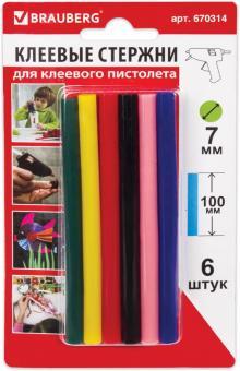 Стержни для клеевого пистолета (6 шт.) цветные (670314)