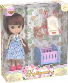 "Кукла ""Катенька"" с набором ""Кроватка и коляска"" (М6614)"