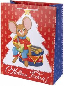 Пакет бумажный, 26х32.4х12.7 см, Мышка с барабаном (80004)