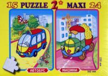 "Пазл ""Автобус"",15 деталей. Пазл ""Машина"", 24 детали (К-3901)"