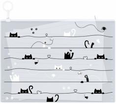 Папка для тетрадей (А4), пластиковая на гибкой молнии, Коты (52082)
